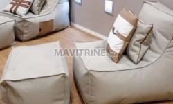 Pouf +fauteuil+ 2 coussins